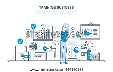 Business training, consulting, learning and teaching, professional and career growth, teamwork. Illustration thin line design of vector doodles