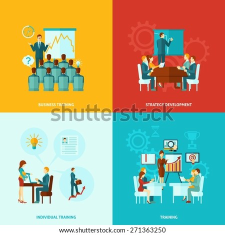 Business training design concept set with strategy development flat icons isolated vector illustration