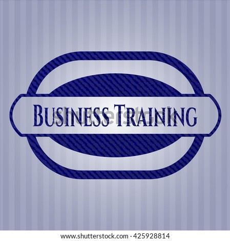 Business Training emblem with denim high quality background