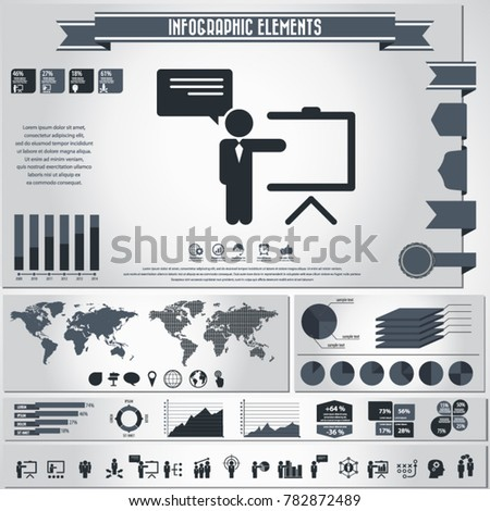 Business training icon set and infographics elements