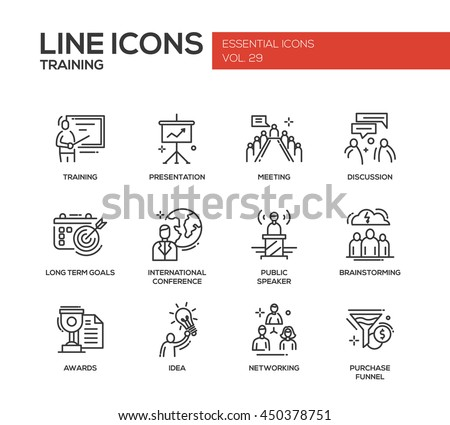 Business training - modern vector plain simple line design icons and pictograms set. Presentation, meeting, discussion, goals, conference, speaker, brainstorm, awards, idea networking purchase funnel