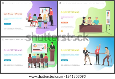Business training, seminar workers competence increasing courses vector. Speaker with presentation explaining concepts and ideas, people pulling rope