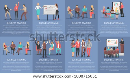 Business training seminars set of posters with co workers taking part at conference discussions and competitions vector illustration of banners with text