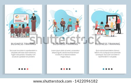 Business training set, man and woman discussing, conference and chart report, worker character brainstorming, employee cooperation, meeting vector. People on seminar. App slider, landing page flat