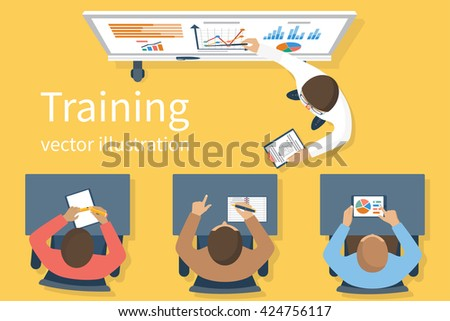 Business training staff, concept. Briefing meeting. Corporate training. Business seminar. Flat style vector. Conference employee. Training conference planning business decisions.