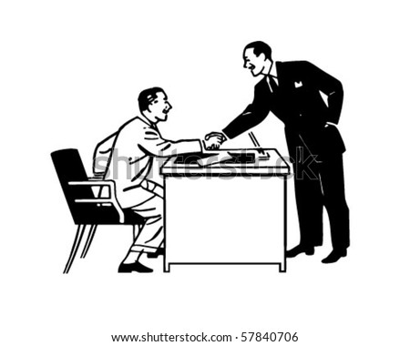 Business Transaction - Two Men Shaking Hands - Retro Clip Art