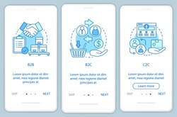 Business transactions onboarding mobile app page screen vector template. B2B, B2C, C2C walkthrough website steps. Market types. Business models. UX, UI, GUI smartphone interface concept