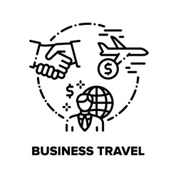 Business Travel Vector Icon Concept. Business Worldwide Travel For Signing Contract With Partners Or Visit International Conference, Businessman Flying On Airplane Black Illustration
