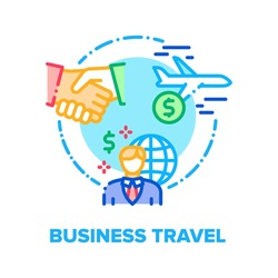 Business Travel Vector Icon Concept. Business Worldwide Travel For Signing Contract With Partners Or Visit International Conference, Businessman Flying On Airplane Color Illustration