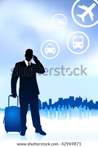 Business Traveler with City Skyline Original Vector Illustration