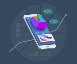 Business trend analysis on smartphone screen with graphs, perspective flat design infographic on colored background. Mobile phone with radial pie chart diagram conceptual vector illustration, eps10.