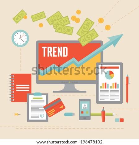 Business Trend Illustration in Flat Design Style for presentation, booklet, web site etc.