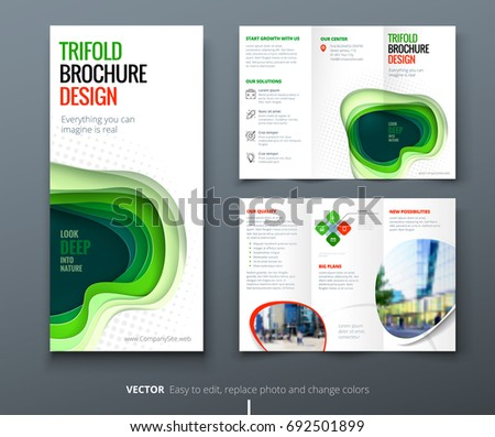 Template Design Of Blue Wave Trifold Brochure Download Free - Brochure template ideas