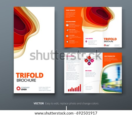 Tri fold brochure design corporate business template with orange business tri fold brochure design red orange corporate business template for tri fold flyer cheaphphosting Images