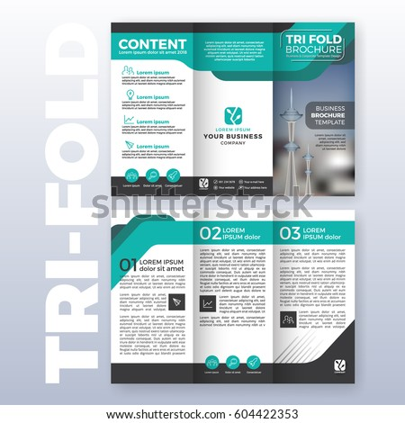 Business tri-fold brochure template design with Turquoise color scheme in A4 size layout with bleeds. Vector illustration