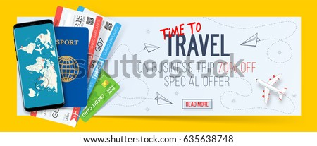 Business trip banner with passport, tickets, smartphone and credit card. Air travel concept with 70% off. Vector illustration