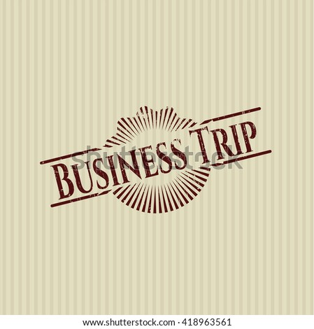 Business Trip rubber stamp with grunge texture