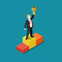 Business trophy rating award winner concept flat 3d web isometric infographic vector. Businessman on first place pedestal rising hand with gold cup. Creative people collection.