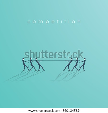 Business tug of war vector symbol with businessman pulling rope as a symbol of business competition. Eps10 vector illustration.