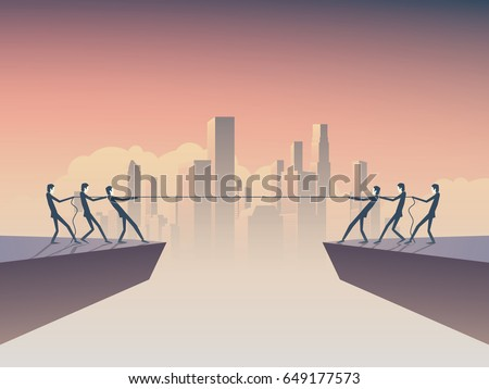 Business tug of war vector symbol with businessman pulling rope as a symbol of business competition. Corporate skyline, cityscape background. Eps10 vector illustration.