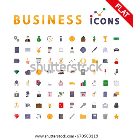 Business. Universal icon set for web and mobile application. Vector illustration on a white background. Flat design style.