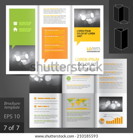 Business vector brochure template design with green and yellow text bubbles