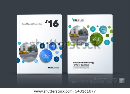 Business vector. Brochure template layout, cover design annual report, magazine, flyer in A4 with points circles dots for IT, business, beauty. Soft abstract art with overlay effect. Set