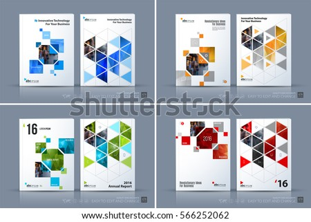 Business vector. Brochure template layout, cover modern design annual report, magazine, flyer in A4 with yellow rectangles, geometric triangles for business, tech. Abstract art with overlay effect. #566252062