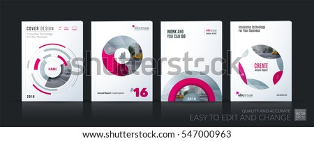 Business vector. Brochure template layout, cover soft design annual report, magazine, flyer in A4 with pink circle, rounds, sphere for PR, business, tech. Abstract art with overlay effect. Mega set