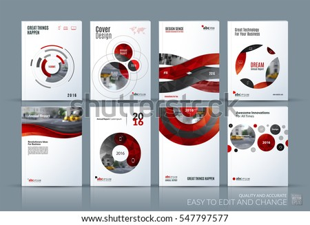 Business vector. Brochure template layout, cover soft design annual report, magazine, flyer in A4 with red circle, rounds for PR, business, tech. Abstract art with overlay effect. Mega set