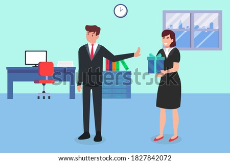 Business vector concept: Businessman refusing a gift for a bribe from a businesswoman ストックフォト ©