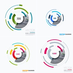 Business vector design elements for graphic layout. Modern abstract background template with particles, circles, segments of rounds for IT, business, strategy in clean minimal style. Set