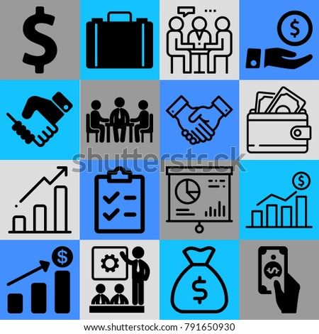 Business vector icon set consisting of 16 icons about cent, dollar sign, list, meeting, currency, coin, wallet, chart, suitcase and money