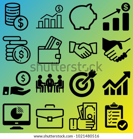 Business vector icon set consisting of 16 icons about handshake, coins, rate, pie chart, diagram, coin, currency, money box, payment and agreement