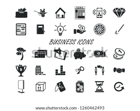 Business vector icon set. Contains such Icons as Money, Time, Businessman and more. Editable. #1260462493