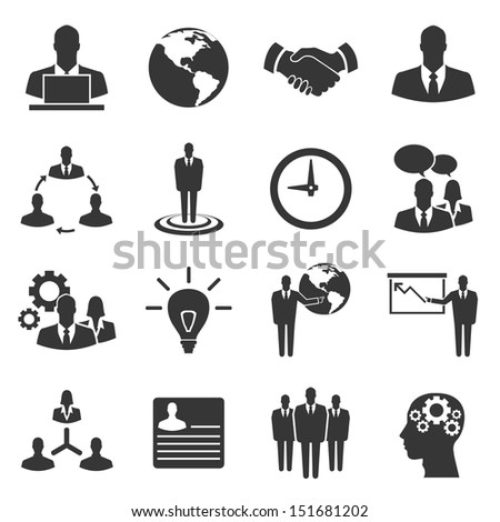 Business vector icon set on white background