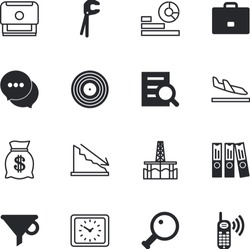 business vector icon set such as: dialog, targeting, hammer, collection, pump, performance, vacation, environmental, online, workshop, baggage, blank, bad, deepwater, lock, grunge, experiment, gas