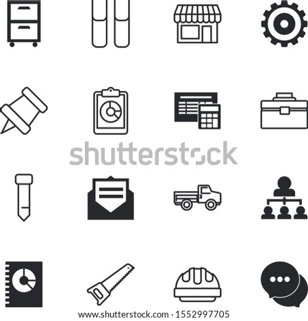 business vector icon set such as: stand, pyramid, mark, truck, database, pass, letter, gear, success, chat, school, container, demographic, alarm, number, validation, clipart, debt, validate, pinned