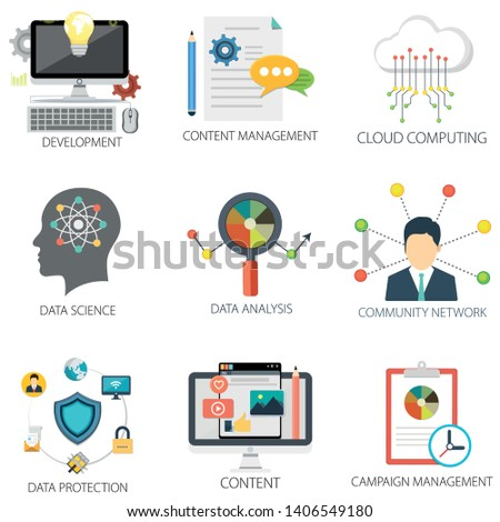 business vector icons collection of Cloud Computing, Development, Content Management, Data Science, Data Analysis and Data Protection.  Design Business elements for mobile and web applications.