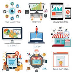 business vector icons collection of Shopping, Viral Marketing, Statistics, Online Control, Start Up and Page Ranking.  Design Business elements for mobile and web applications.