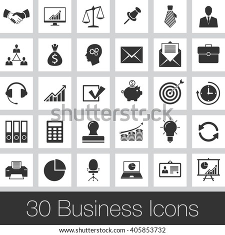 Business vector icons set, modern solid symbol collection, pictogram pack isolated on gray