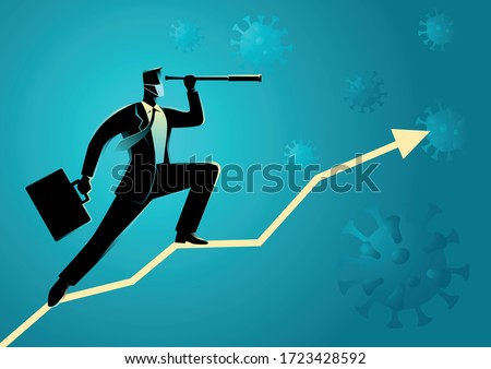 Business vector illustration of a businessman using telescope on graphic chart with covid-19 on the background. Covid-19 impacts to business