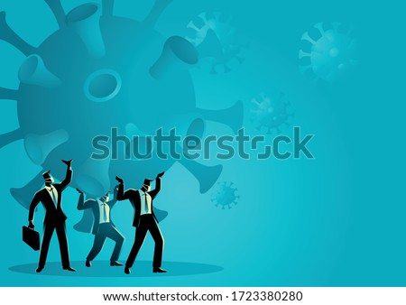 Business vector illustration of a businessmen holding a giant coronavirus together. Heavy, burden due coronavirus pandemic business concept