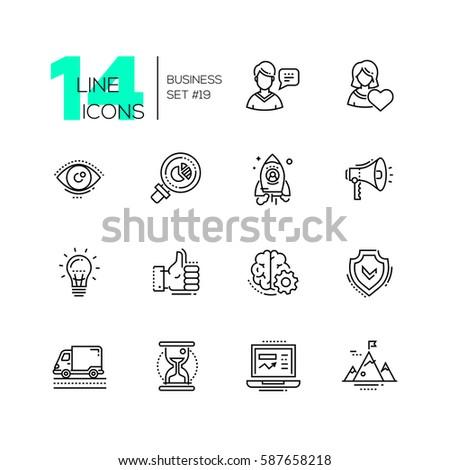 Business - vector modern single line icons set. Man, woman, eye, magnifying glass, hourglass, laptop, brain, ok symbol, mountain, speaker, spaceship.