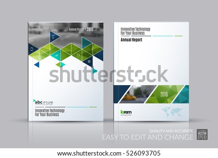 Business vector set. Brochure template layout, cover design annual report, flyer in A4 with triangles, arrows for business, buildings, nature on bright background. Abstract creative design.