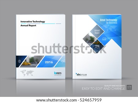 Business vector set. Brochure template layout, cover design annual report, magazine, flyer in A4 with blue rectangular shapes, diagonal lines, parallelogram for IT, business, building. Abstract.