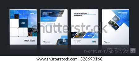 Business vector set. Brochure template layout, cover design annual report, magazine, flyer in A4 with blue rectangular diagonal shapes, squares, arrows for IT, business, building. Abstract.