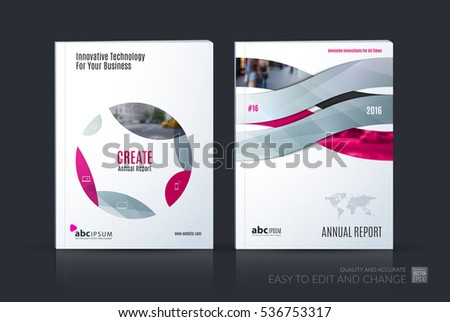 Business vector set. Brochure template layout, cover design annual report, magazine, flyer in A4 with grey pink circle, soft shapes, parts for IT, business, beauty. Abstract art.