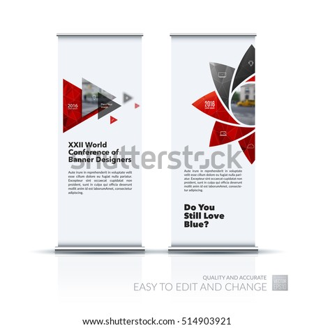 Business vector set of modern roll Up Banner stand design with geometric flower shapes, polygons for science, natural organic idea. Brochure for exhibition, fair, show.