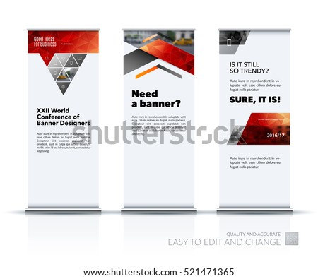 Business vector set of modern roll Up Banner stand design with triangles, arrows for business, finance, buildings, nature concept. Brochure for exhibition, fair, show. Abstract creative art.